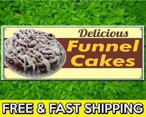 Advertising Flag Front Banner Business Sign Retail Store Funnel Cakes Banner Vinyl Weatherproof 3x10 lb