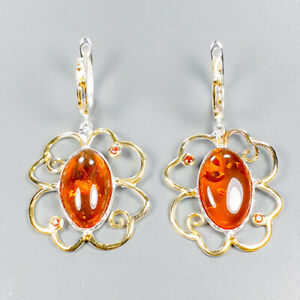 Vintage SET Natural Amber 925 Sterling Silver Earrings /E37143
