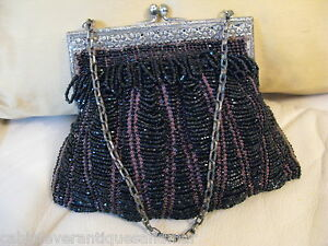 Vintage Antique Gold Tone Frame Amber Knit Crochet Brown Black Iridescent Bead Purse