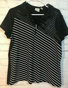 CHICO-039-s-Zenergy-Golf-Top-Woman-039-s-Size-2-Medium-Black-Stripe-Sequins-Cap-Sleeve