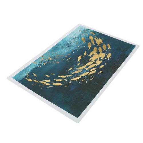Gold Bird Blue Framed Canvas Print Abstract Background Dinning Room Wall Art LJ