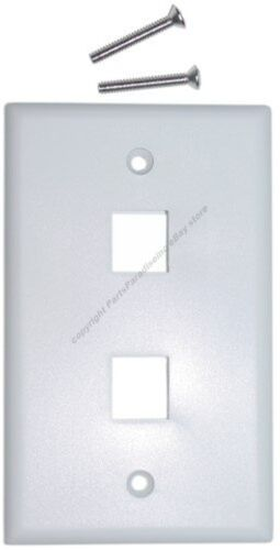 Lot=50 Keystone flush Wall face Plate 2//Two//Dual Hole//Jack//Port$SH DISC{WHITE//WH