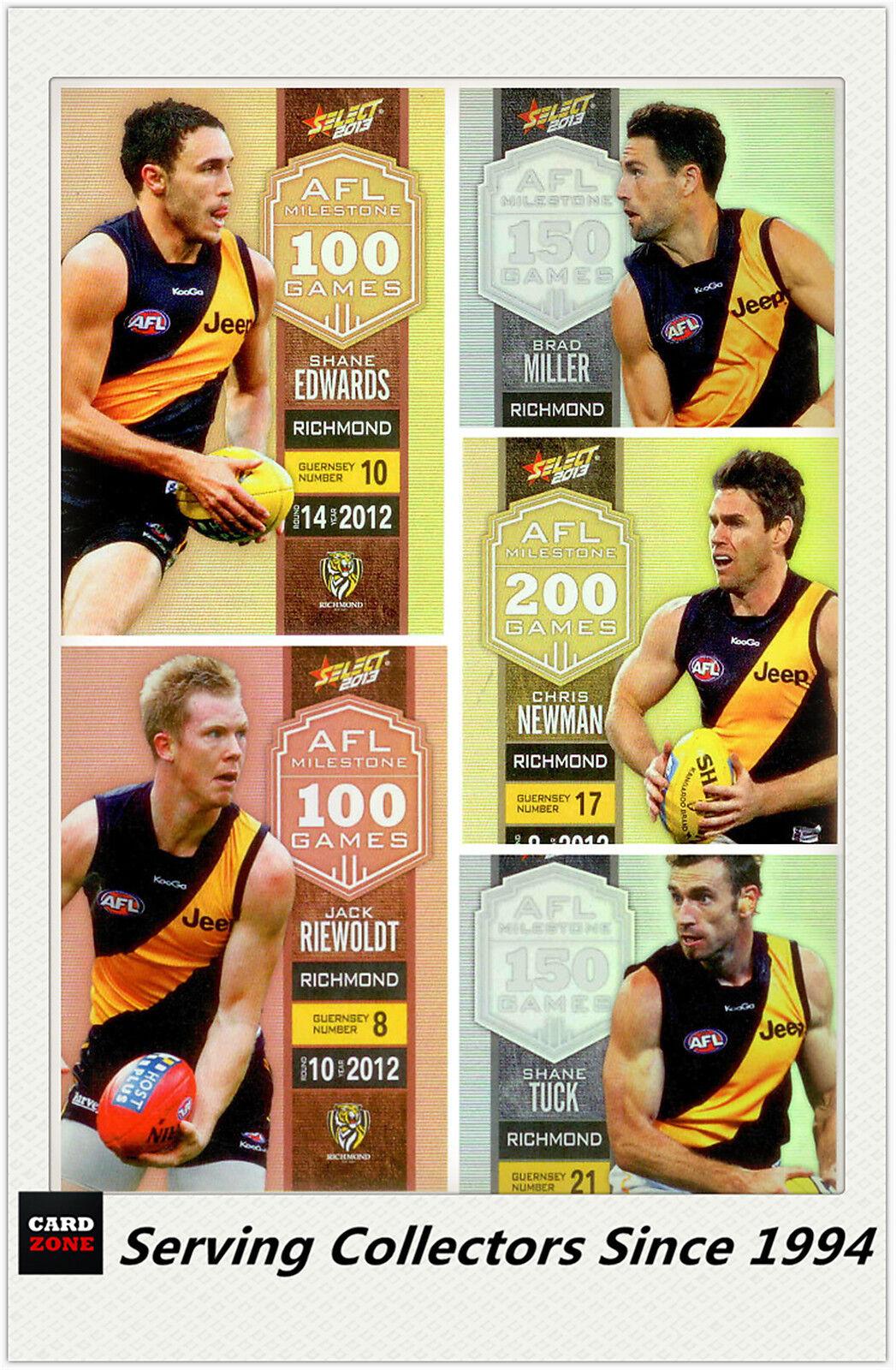 AFL Trading Card MILESTONES SUBSET MASTER TEAM SET-RICHMOND-2013 AFL Champions