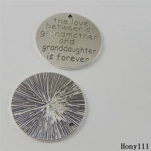 Vintage Silver Alloy Engraved Words Round Charms Pendants Findings 50847 4pcs
