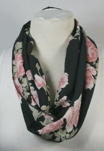 Infinity-scarf-black-theme-chiffon-striped-or-floral-handmade-great-for-vacation
