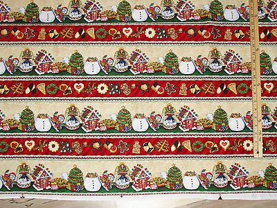 Cookie Jar Santa Gingerbread Stripe Christmas Fabric by the 1/2 Yard #69010