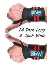 DAM 24 Inch WRIST WRAPS HEAVY DUTY POWERLIFTING BODYBUILDING GYM SUPPORT STRAPS