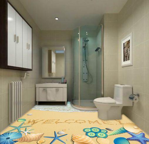 3D spiaggia Blau stella Pavimento Foto Wallpaper Murales Muro Stampa Decalcomania