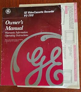 ge video cassette recorder vg 7910 vhs vcr owners manual quick use rh ebay com GE VHS Motors Sanyo VCR