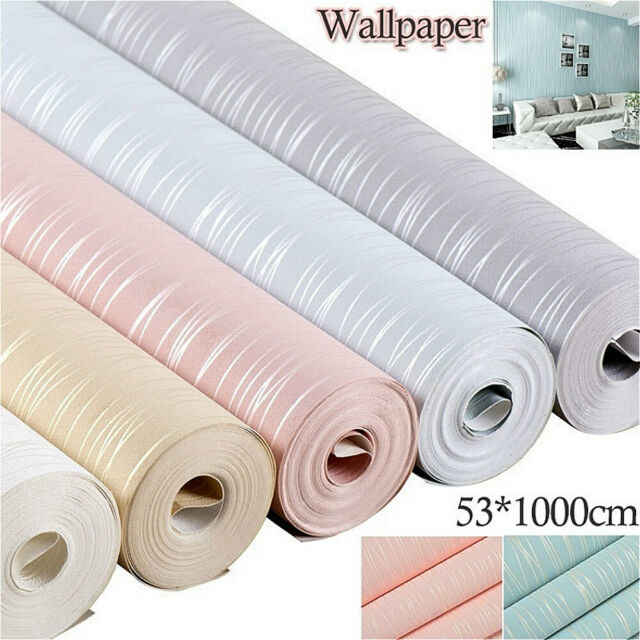 10M Wall Paper Non-Woven Roll 3D Lines Wallpaper Home Panels Pad