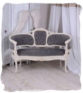 Sitzbank Rokoko Sofa Couch Grau Samt Barocksofa Vintage Möbel