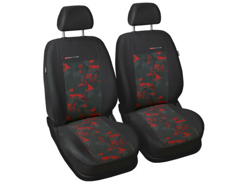 2 X CAR SEAT COVERS pair front seats fit Suzuki Swift charcoal grey//red