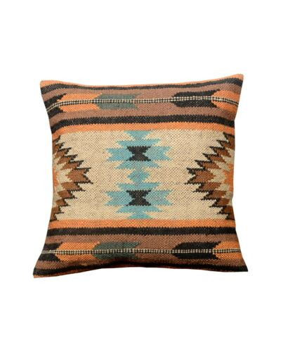 3 Set of wool Jute Kilim Cushion Cover Hand-woven Throw Indian Pillows Boho 3126