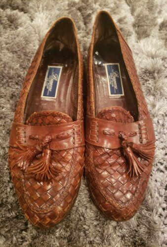 Bragano Brown Woven Weave Leather Mens Tassel Loaf