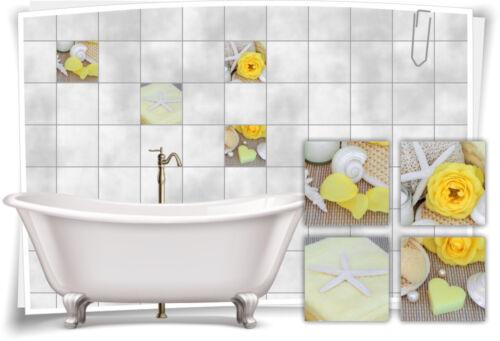 Azulejos pegatinas azulejos imagen amarillos Rose concha wellness pegatinas azulejos Bad