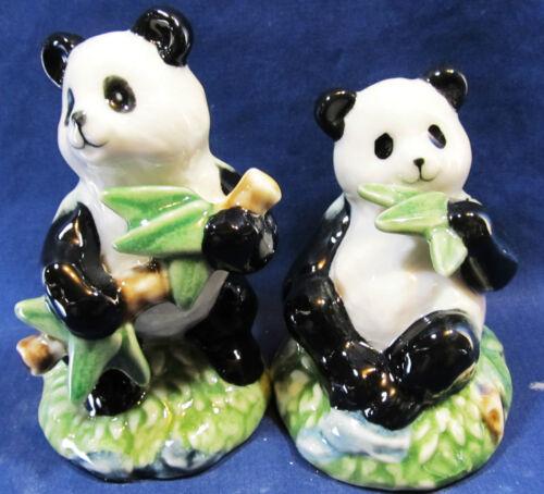 Panda Bears in the Bamboo ceramic salt and pepper shakers wildlife decor