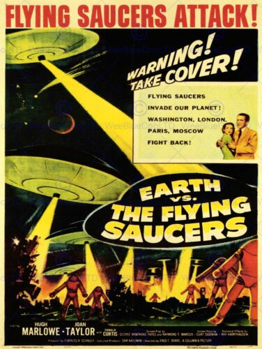 SCI FI EARTH VS FLYING SAUCERS ATTACK TAYLOR MARLOWE ART PRINT POSTER CC363