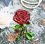 thumbnail 7 - Crystal Red Rose Flower Figurine Craft Collectible Gift For Mothers Day Birthday
