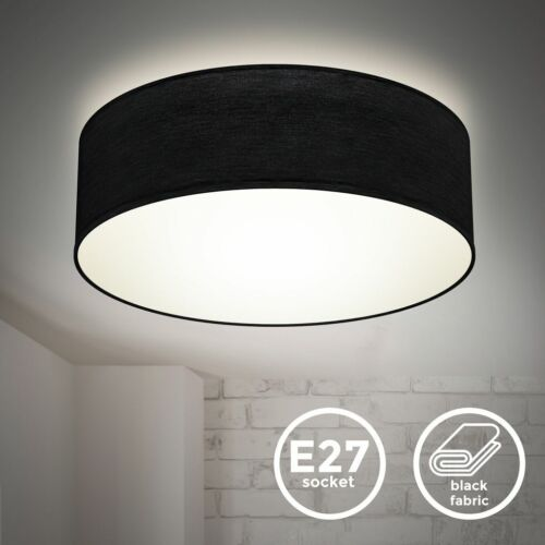 Deckenlampe Stoff schwarz Textilschirm Deckenleuchte Wohnzimmer Schlafzimmer E27