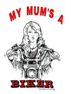 Baby-Toddler-Slogan-Clothing-My-Mum-039-s-A-Biker-Babygrow
