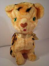 """Rushton Plush Vintage Orange Striped Tiger Green Eyes 11"""" Sitting Stuffed Animal"""