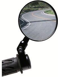 BLACK-NEW OBERON Adjustable Handlebar Clamp Mirror for 1 inch bar-ROUND HEAD