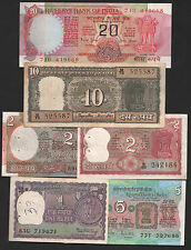indian  currency  20 + 10 + 5  + 2 + 2 + 1  rupees six notes  mini  set