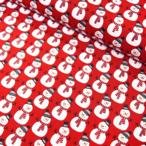 100/% Cotton Fabric Christmas Xmas  Day Happy Snowmen Festive 135cm Wide