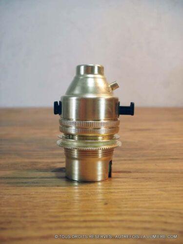 1 douille laiton B22 a interrupteur poussoir double bague lampe gras anglepoise,