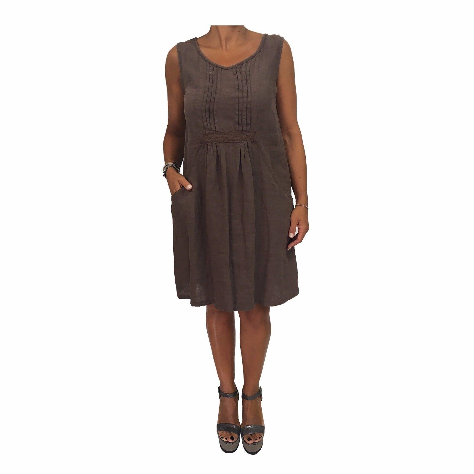 HUMILITY 1949 women's dress sleeveless dark brown 100% linen MADE IN ITALY