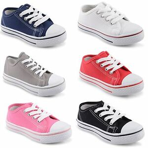 New-Boys-Girls-Infants-Unisex-Comfy-Lace-Up-Plimsolle-Pumps-Trainers-Size-6-5