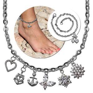 Fußkettchen Fuß-kette Knöchel Fuß Schmuck 22cm Damen Figarokette Armband Silbern Strukturelle Behinderungen