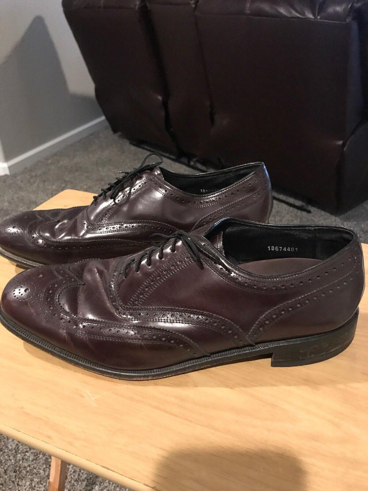 Mens Florsheim Lexington Wing tip Lace up Leather shoes 17066-05 Burgundy 13 D