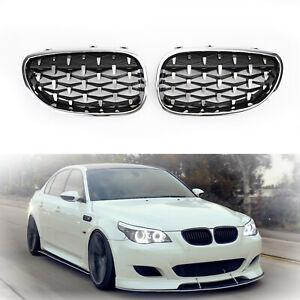 Pair-Chrome-Front-Diamond-Kidney-Grille-For-2003-2010-BMW-E60-E61-5-Series-Z5