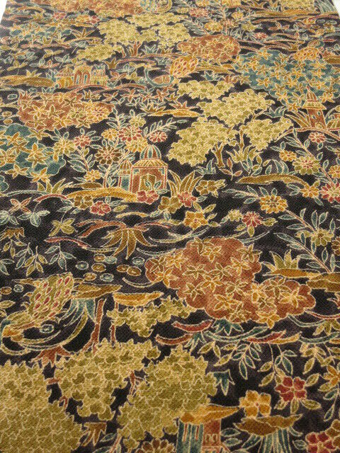 "3A04z90 Japanese Kimono Crepe Silk  FABRIC Grape Scenery 60.6"""