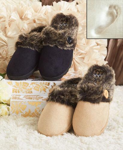 Memory Foam Slippers with Faux Fur Cuffs