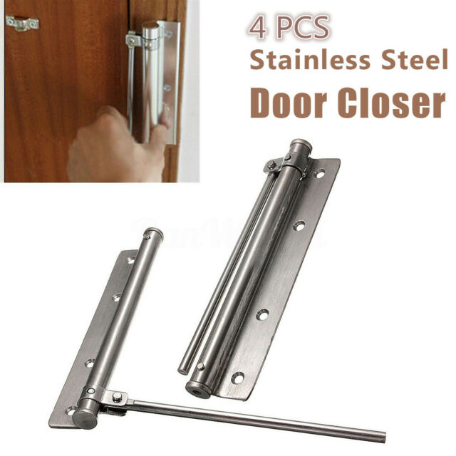 1pc Automatic Mounted Spring Door Closer Stainless Steel Adjustable Surfac P4X8