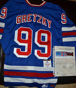 on sale 49847 8a6dd Details about WAYNE GRETZKY Signed N.Y RANGERS JERSEY* LARGE 48 R -GLOBAL  AUTH