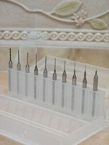 10-x-0-1mm-Wolfram-PCB-CNC-Wolframstahl-Spiralbohrer-Bohrer-Fraeser-fuer-Dremel