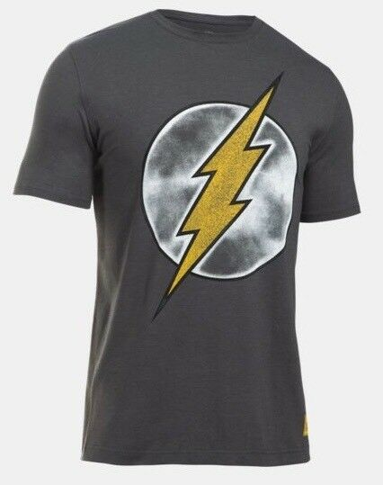 NEW Under Armour The Flash Justice League Heat Gear Loose Gray Mens T Shirt XL L