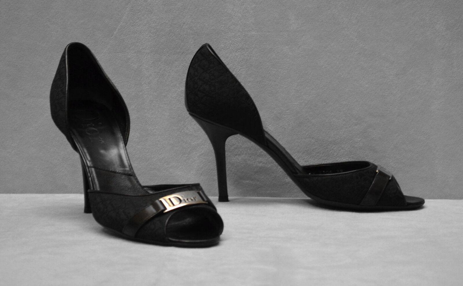 D0 Negro Auth Christian Dior con el logotipo de lona lona lona Placa De Metal Puntera abierta Tacones Zapatos Talla 39  mejor precio