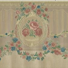 Victorian Rose Flowers & Wreath - Gold Satin - ONLY $8 - Wallpaper Border A227