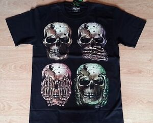 Men T Shirt Rock Chang Glow In The Dark Skull Graphic Tshirt Ebay