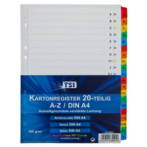 Bedruckte Register weißer Karton 160g verstärkte farbige Taben 20-teilig A4 Weiß