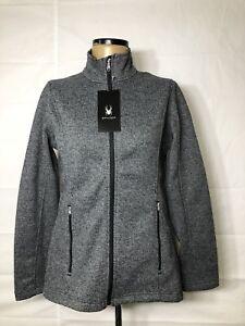 Nwt Spyder Women S Major Cable Dark Gray Sweater Full Zip