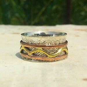 925-Sterling-Silver-Spinner-Ring-Wide-Band-Meditation-Statement-Jewelry-A122
