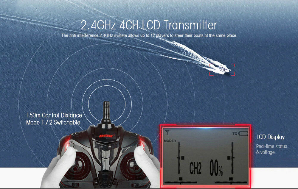 H101 2.4G Water Cooling High Speed Speed Speed RC Remote Radio Control Racing Speed Boat TOY bc1594