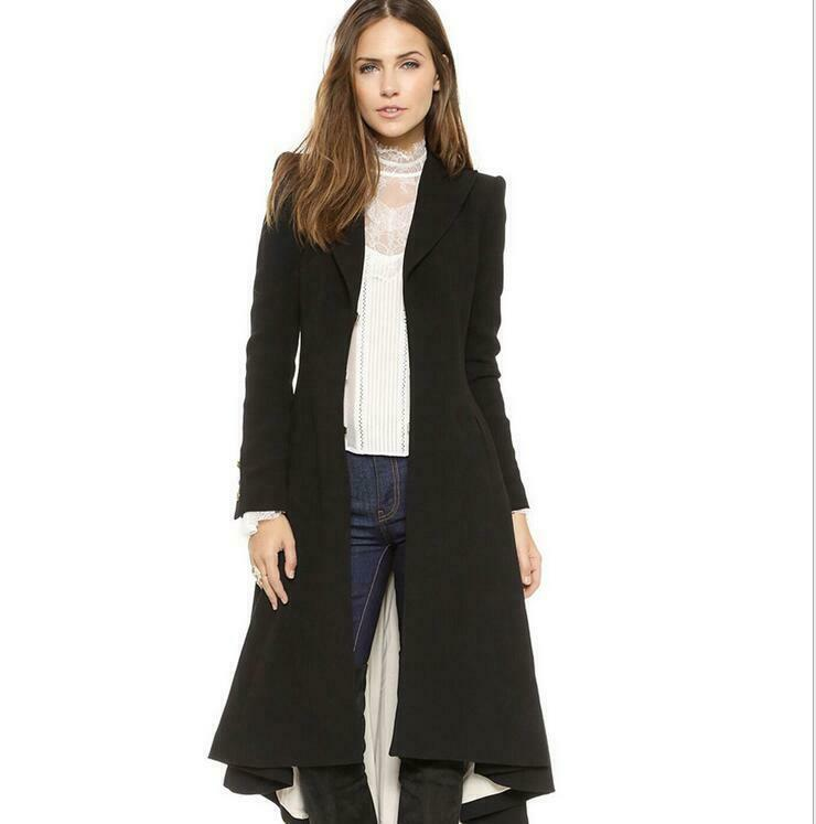 Womens Slim Fit Coat Knee Knee Knee Length Swallow-tailed coat Size S-2XL Wind Coats 2019 e6be59