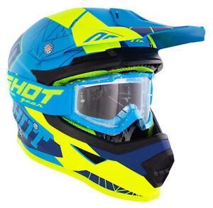 NEW BLUE ADULT MOTOCROSS MX ENDURO QUAD ATV CRASH HELMET PLUS FREE GOGGLES