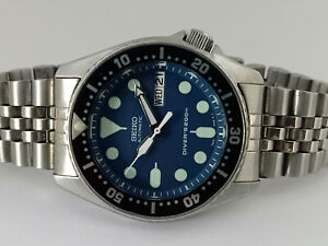 LOVELY BLUE MODDED SEIKO 7S26-0030 SKX013 AUTOMATIC MENS WATCH SN 770116